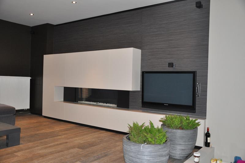 HCG ltd    Realisaties   Inbouwkasten   Wandmeubel met haard en TV (2)